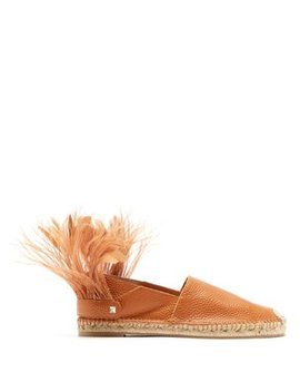 Feather Strap Leather Espadrilles by Valentino