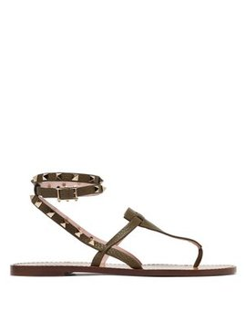 Rockstud Embellished Grained Leather Sandals by Valentino