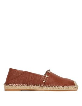 Rockstud Collapsible Heel Leather Espadrille Flats by Valentino
