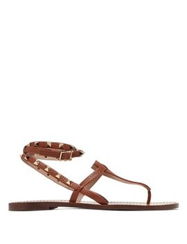 Rockstud Double Strap Leather Sandals by Valentino