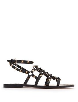 Rockstud Cage Leather Gladiator Sandals by Valentino
