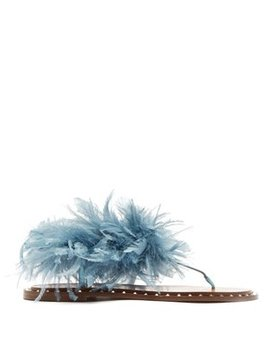 Soul Feather Embellished Suede Sandals by Valentino