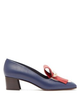 Uptown Fringed Block Heel Leather Loafers by Valentino