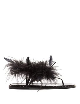 Feather Embellished Leather Sandals by Valentino