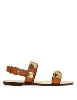 Lock Rockstud Leather Slingback Sandals by Valentino