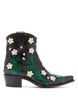 Ranch Daisy Floral Appliqué Western Leather Boots by Valentino