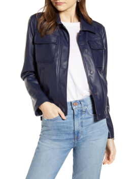 Boxy Faux Leather Jacket by Something Navy