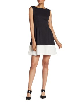 Two Tone Fit & Flare Scuba Dress by Vince Camuto