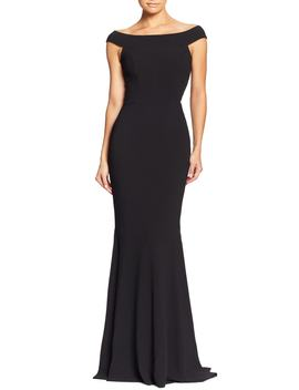 Jackie Off The Shoulder Crepe Trumpet Gown by Dress The Population