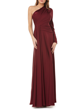 One Shoulder Faille Gown by Kay Unger