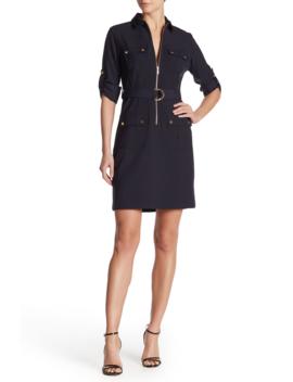 Front Zip Pocket Dress by Sharagano