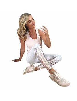 Anjunie Women's Workout Sequin Leggings Fitness Sports Gym Running Yoga Athletic Pants by Anjunie