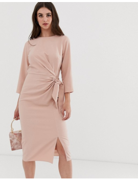 Asos Design Tall Wrap Detail Midi Dress With Long Sleeves by Asos Design