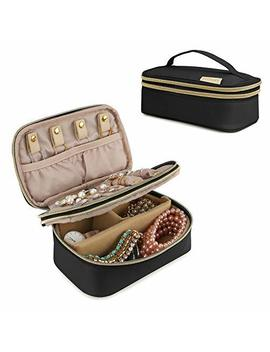 Bagsmart Small Travel Jewellery Organiser Box Double Layer Jewelry Bag For Rings, Bracelets, Earrings, Necklaces, Black by Bagsmart