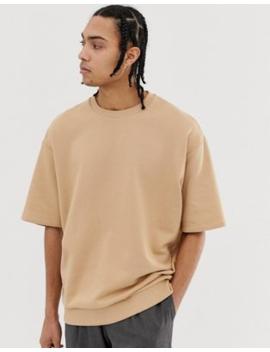 Asos Design Oversized Short Sleeve Sweatshirt In Beige by Asos Design