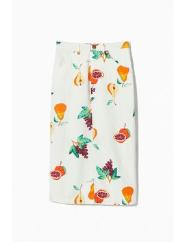 Uo Welcome To Miami Printed Linen Midi Skirt by Urban Outfitters