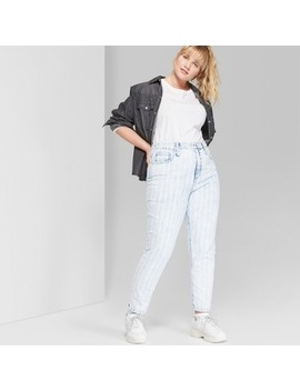 Women's Plus Size Striped High Rise Bleached Railroad Mom Jeans   Wild Fable Blue by Rise Bleached Railroad Mom Jeans