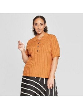 Women's Plus Size Wide Rib Polo Shirt   Who What Wear by Who What Wear