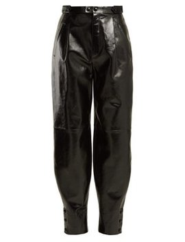 Button Hem Leather Trousers by Givenchy