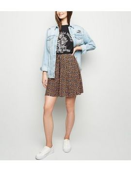 Tall Black Ditsy Floral Button Up Skirt by New Look