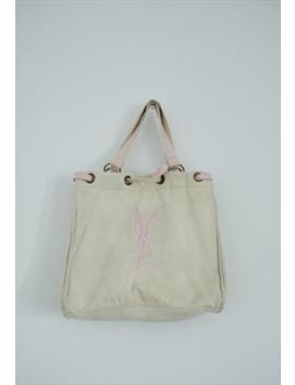 Vintage 90's Original Ysl Beige Logo Sport Wear Tot Bag by Yves Saint Laurent