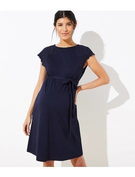 Maternity Embroidered Shoulder Tie Waist Dress by Loft