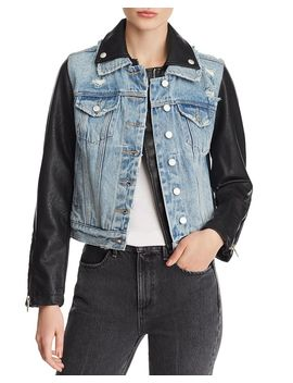 Denim & Faux Leather Jacket by Blanknyc