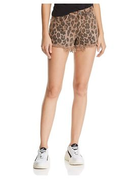 Distressed Leopard Print Denim Shorts In Animal by Blanknyc