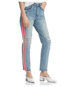 Track Stripe Distressed Straight Leg Jeans In Now Or Never   100% Exclusive by Blanknyc