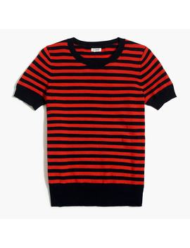 Short Sleeve Crewneck Sweater In Textured Stripe by J.Crew