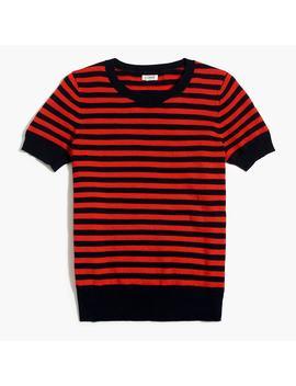 Short Sleeve Crewneck Sweater In Textured Stripe by J.Crew