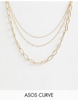 Asos Design Curve – Mehrreihige Halskette In Gold Mit Offenen Gliedern Und Verzierungen by Asos
