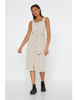 Button The Move Belted Midi Dress by Nasty Gal