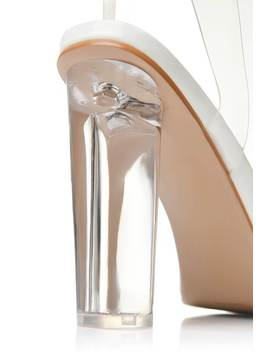 White Clear Strap And Perspex Block Heel Sandals by I Saw It First