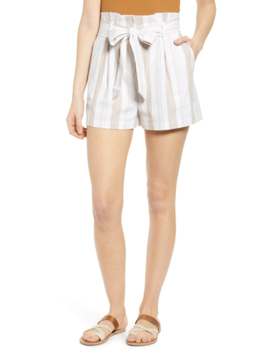 Belted Stripe Paperbag Waist Shorts by Socialite