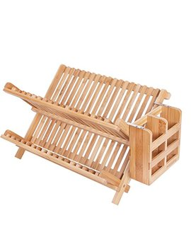 H Blife Dish Rack,H Blife Bamboo Folding 2 Tier Collapsible Drainer Dish Drying Rack With Utensils Flatware Holder Set (1, Dish Rack With Utensil Holder) by Hblife