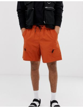 Asos Design Cargo Shorts With Utility Pockets In Orange by Asos Design