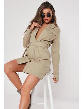 Tall Sand Button Through Utility Shirt Dress by Missguided