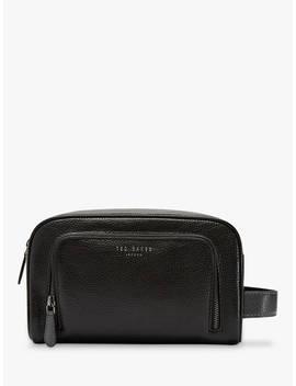 Ted Baker Razor Leather Wash Bag, Black by Ted Baker
