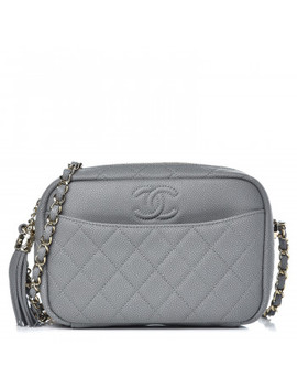 Chanel Caviar Quilted Coco Tassel Small Camera Case Grey by Chanel