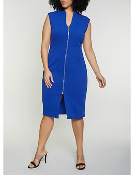 Plus Size Zip Front Textured Knit Sheath Dress by Rainbow