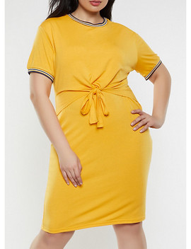 Plus Size Tie Front Overlay T Shirt Dress by Rainbow