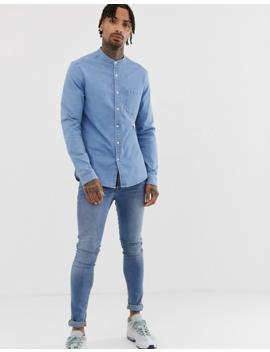 Asos Design Stretch Slim Denim Shirt In Light Wash With Grandad Collar by Asos Design