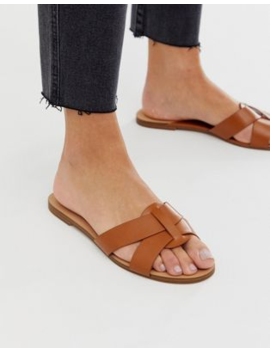 Pull&Amp;Bear Faux Leather Flat Sandals In Tan by Pull&Bear