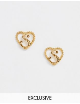 Reclaimed Vintage Inspired Gold Plated S Initial Earrings by Reclaimed Vintage