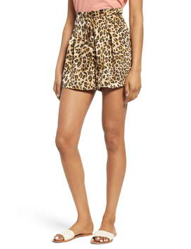 High Tie Waist Leopard Print Shorts by Moon River