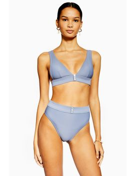 Blue Ribbed Button High Waist Bikini Bottoms by Topshop