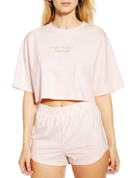 Embroidered Graphic Crop Pajamas by Topshop
