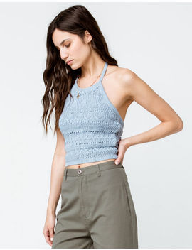Sky And Sparrow Sweater Knit Light Blue Womens Halter Top by Sky And Sparrow