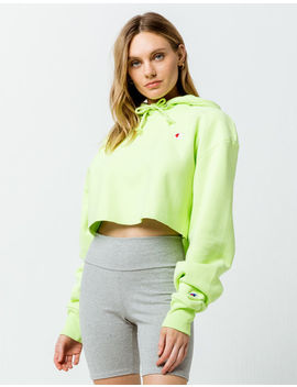 champion-reverse-weave-lime-womens-crop-hoodie by champion